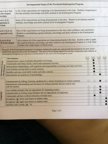 report card в предучилищната